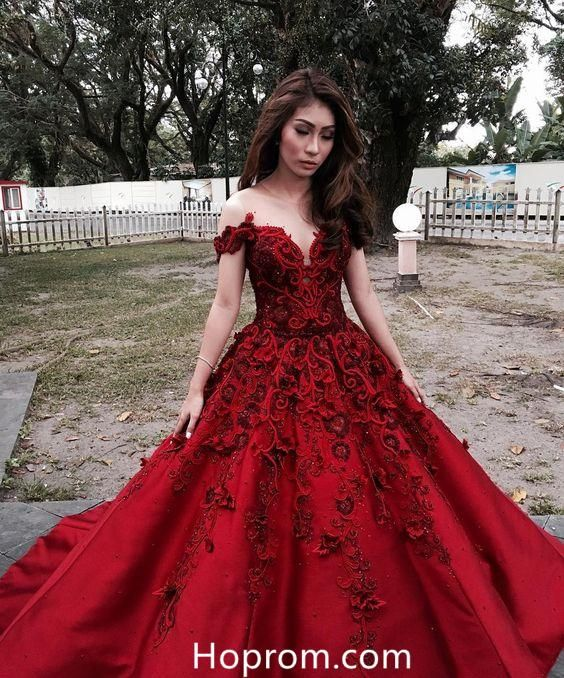 6e7ad2c42f9a Off Shoulder Red Applique Sweetheart Prom Dresses in 2019 | Hoprom ...