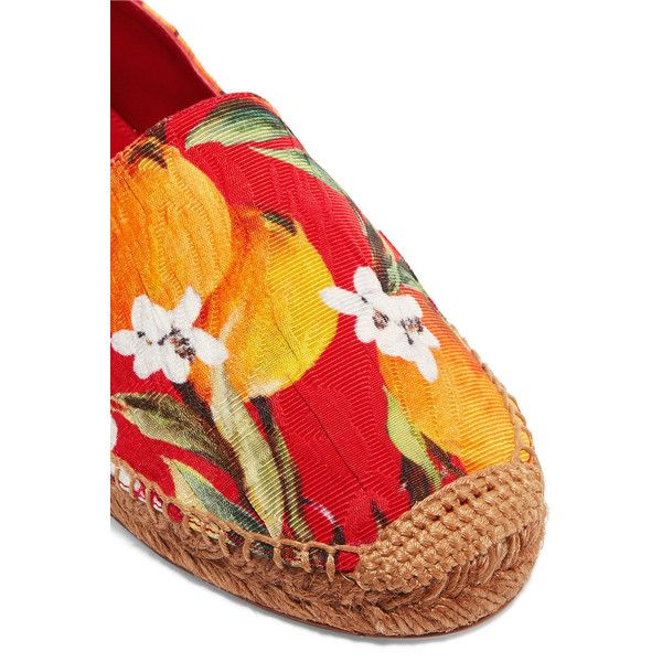 Dolce & Gabbana Printed brocade espadrilles (320 AUD) ❤ liked on Polyvore featuring shoes, sandals, slip on sandals, multi color sandals, round cap, colorful sandals and slip-on shoes