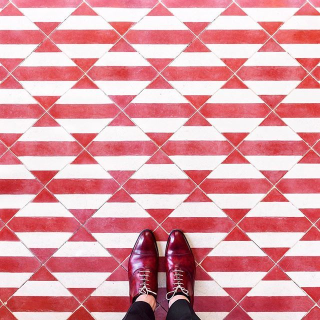 Parisian style red and white floor