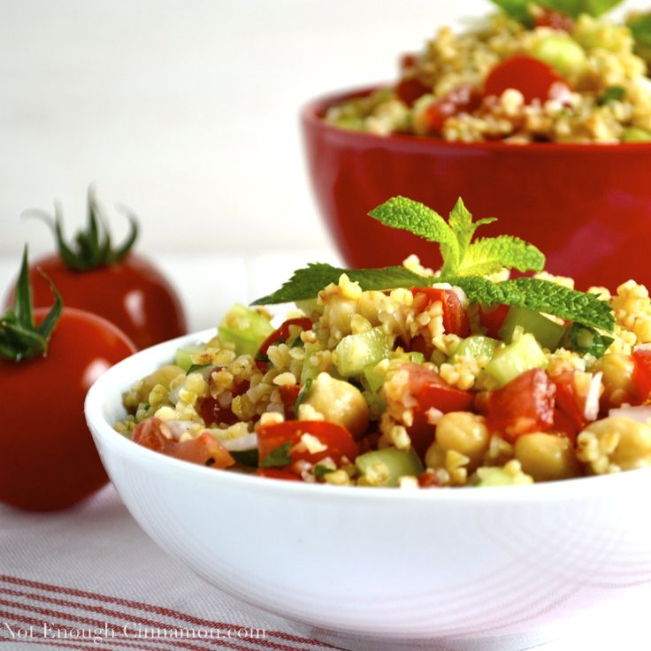 Summer bulgur salad, with bulgur, chickpeas, tomatoes, cucumber and fresh mint.  Perfect for a warm summer day. Easy, healthy and yummy!