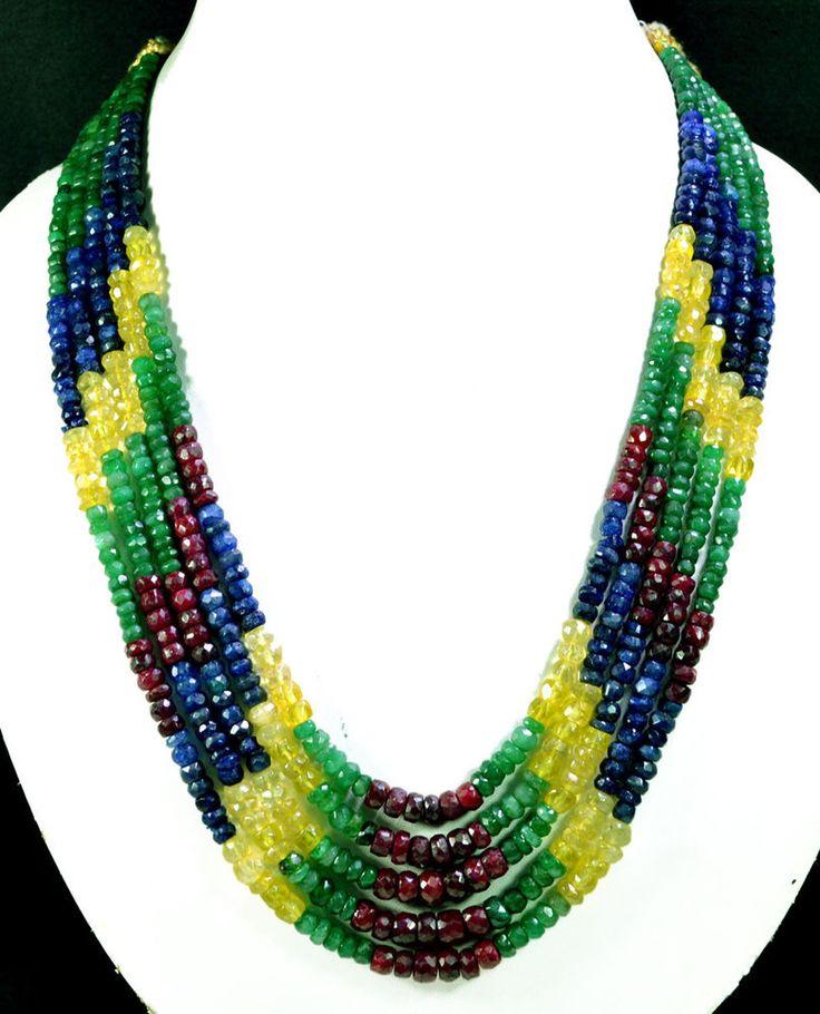5 Strands Natural Ruby Emerald Sapphire 534ct Multi Row Gemstone Beads Necklace #KrishnaGemsNJewels #StrandString