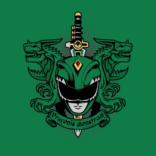 A Mighty Morphin Power Rangers t-shirt by PrimePremne. Latin Green Ranger and his Dragon Dagger. VIRIDIS DRACONIS MONSTRUM
