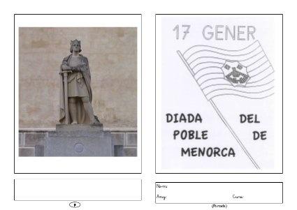 Llibret de 4 pàgines sobre la diada de sant Antoni a Ciutadella (Menorca). S'ha d'imprimir a doble cara, doblegar i grapar. (Per primer cicle de Primària)