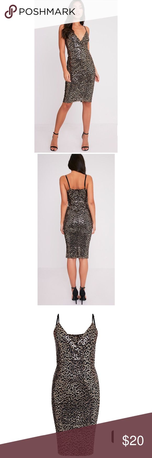 Sequin Midi Dress Midi fit dress with fab gold sequin detailing pretty little things Dresses Midi