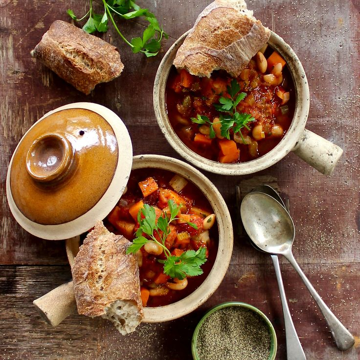 WINTER VEGETABLE SOUP. Our hearty winter vegetable stew made with an array of winter veg, crushed tomatoes and protein packed butter beans. Served with warm, buttery pieces of sourdough bread. 20 minutes. Winter comfort food.