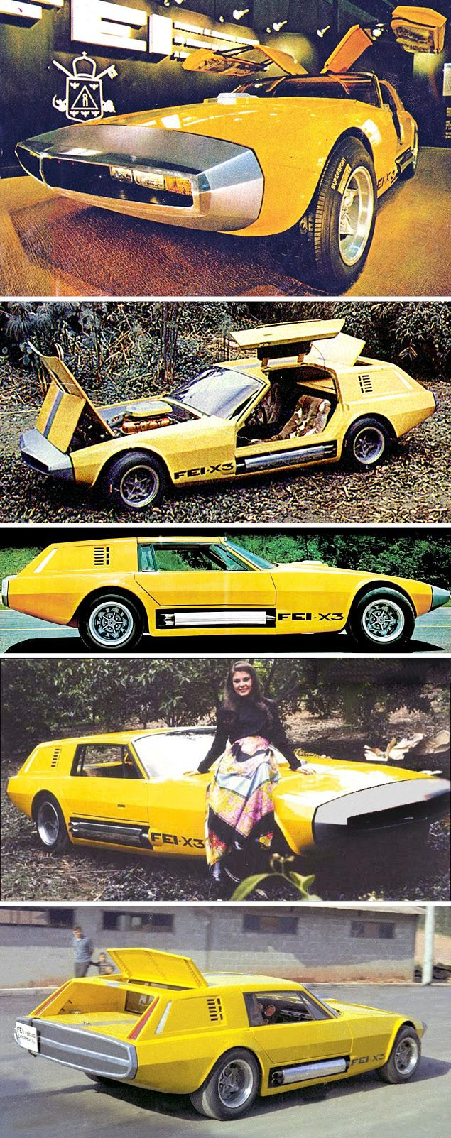 FEI X3 Lavinia, 1970. Another product of the Fundação Educacional Inaciana engineering school, a gull-winged shooting brake-type sports car which used parts, including a 5.2 litre V8, from the Dodge Dart