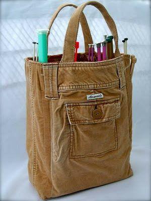 Repurposing an old pair of pants into a handbag