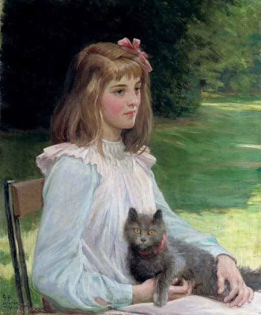 Berthe Morisot, Young Girl with Cat, 1841 –  1895