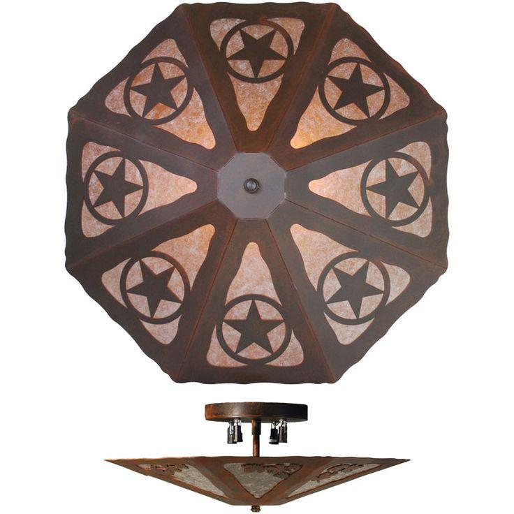 Rustic texas star lighting texas star octagon ceiling light fixture house pinterest - Paper lighting fixtures ...