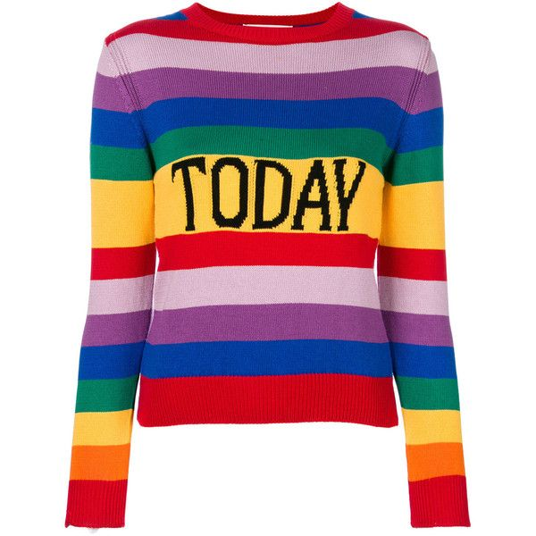 Alberta Ferretti Today jumper ($620) ❤ liked on Polyvore featuring tops, sweaters, multicolour, extra long sleeve sweater, alberta ferretti sweater, long sleeve cotton tops, colorful sweaters and horizontal striped sweater