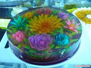 Wow! flowers sculpted out of jello and then embedded in MORE jello.  Makes me jiggly all over!