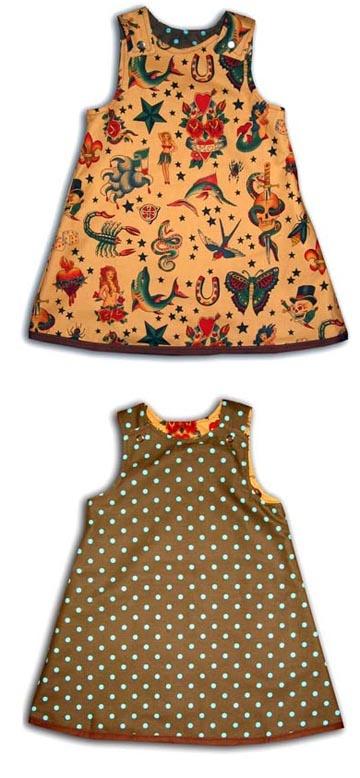 Punk Rock Baby Reversible Dress: Tattoo Tea