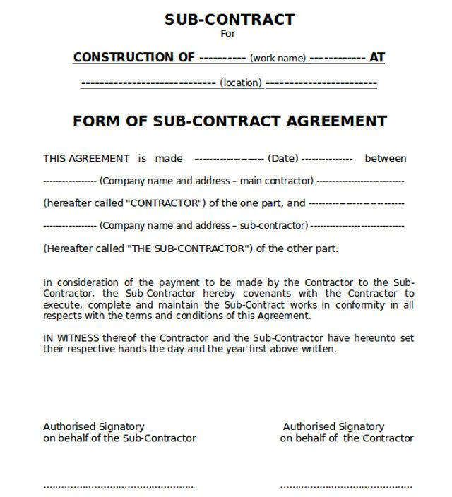 Sub-contract Agreement Form Ideas for the House Pinterest - free construction contracts