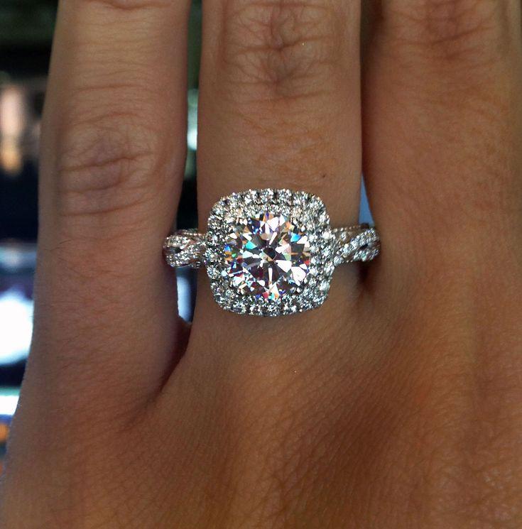 #Verragio double halo engagement ring cushion cut