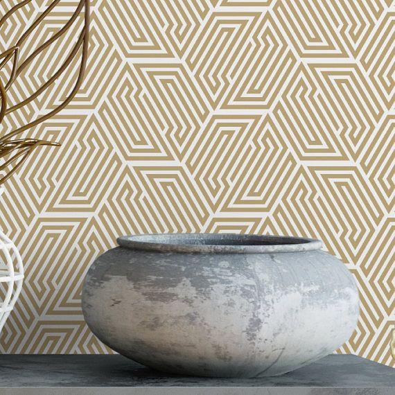gold hexagon removable wallpaper cute self adhesive wallpaper beige geometric temporary wallpaper g197