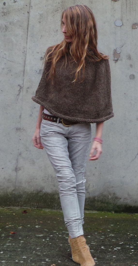 Poncho marrón, cuello chimenea, acurrucarse poncho, poncho de alpaca color marrón de las mujeres,