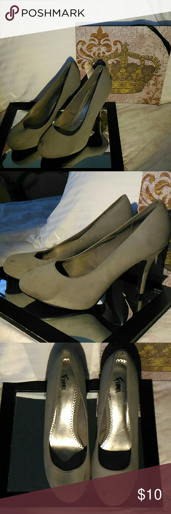 Fioni Grey High Heels ~ Gently Used; Scuff Marks On Front Of Both & Right Rear Heel. ~ Selling Because I Don't Wear Them Anymore. ~ Offers Welcome! ~ Bottom Is Black. FIONI Clothing Shoes Heels