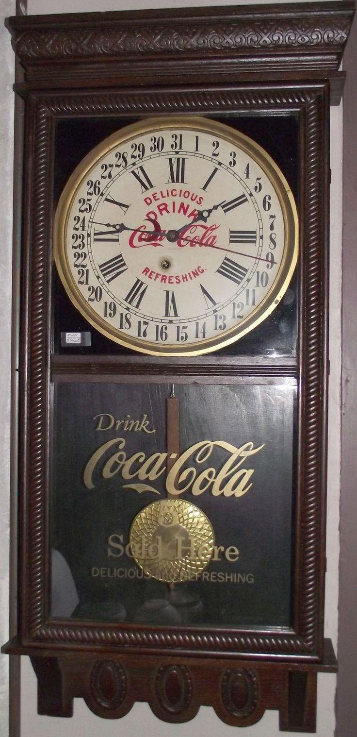 """Authentic """"Coca Cola"""" Advertising Store Regulator Clock with Calendar Date made by the Ingraham Clock Co. Circa 1925"""