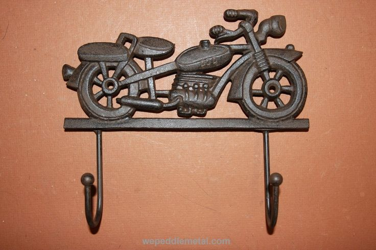 "Vintage look motorcycle wall hook. Cast Iron Motorcycle Decor. This item is FREE SHIPPING. Please see the note below for combined shipping. 1 piece, Motorcycle Wall Hook: 6 1/2"" x 7 1/2"". Hook opens 1"