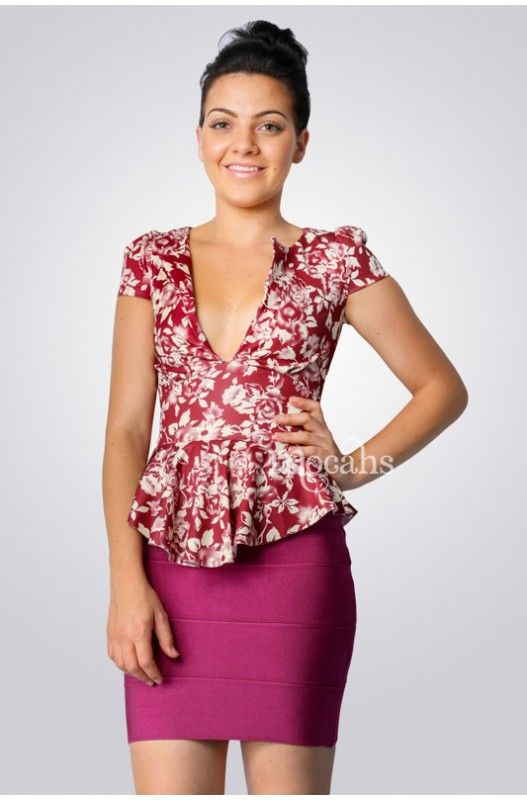 """Esme"" Peplum Top- Peplum Top! Stretchy fabric for comfortable fit! Low cut V neck! Hidden back zip!"