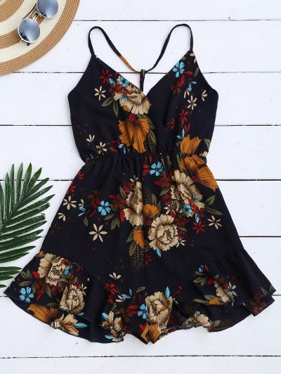 SHARE & Get it FREE | Spaghetti Straps Caged Floral Romper - Purplish BlueFor Fashion Lovers only:80,000+ Items • New Arrivals Daily Join Zaful: Get YOUR $50 NOW!