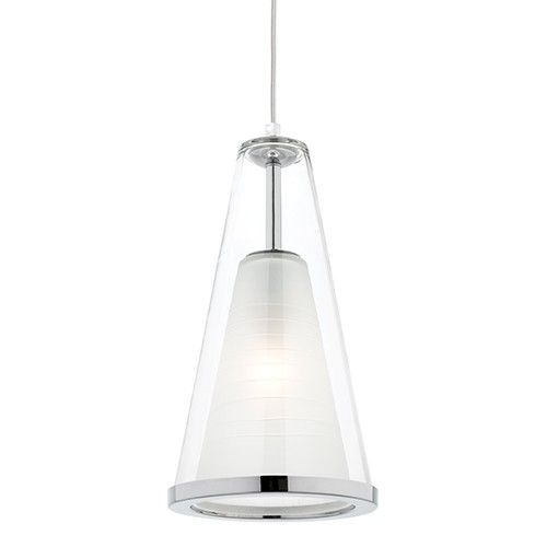 Orson 1 light chrome pendant with clear/frosted inner glass