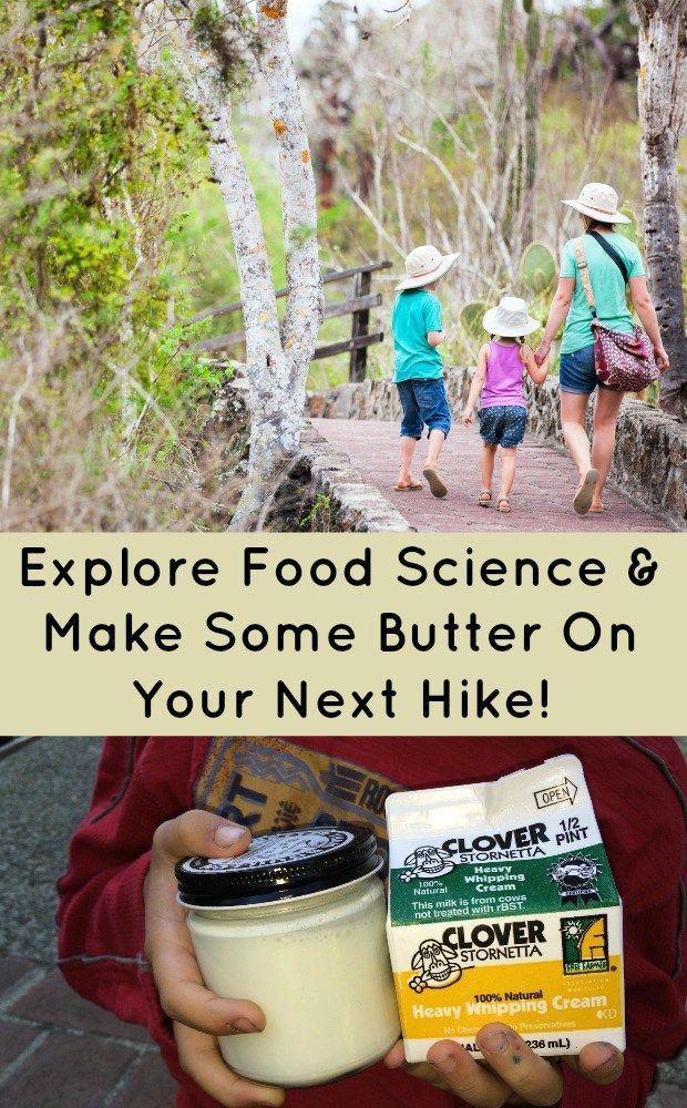 A BETTER HIKE WITH BUTTER - Go for a hike while you are making butter with kids. Kids will enjoy discovering the science of turning liquid into a solid. #foodscience #scienceforkids #outdoorfun #education #mosswoodconnections