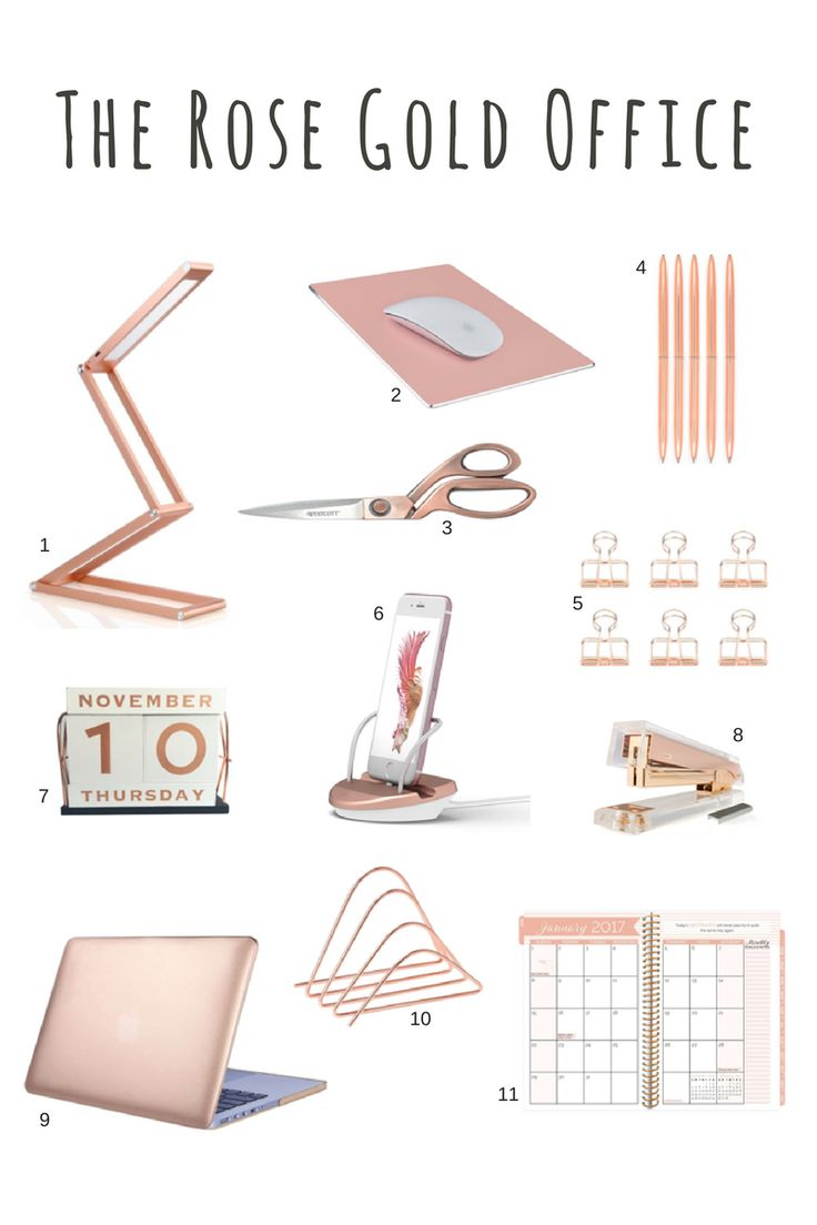 rose gold desk accessories scissors stapler pens feminine office