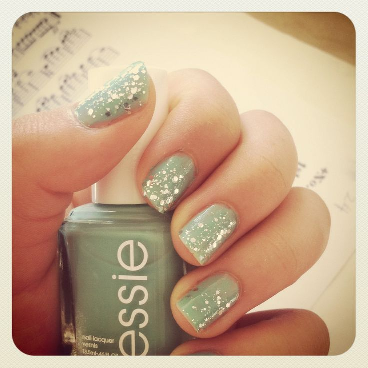 Mint green with sliver glitter