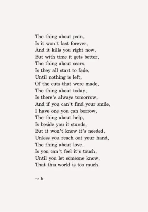 The thing about pain... // Ernest Hemingway                              …