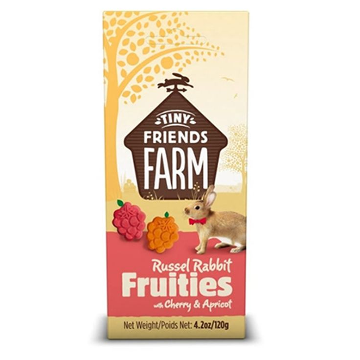 Supreme Tiny Friends Farm Russel Rabbit Fruities with Cherry & Apricot have been designed to be crunchy and fibrous which helps encourage gnawing to help keep teeth healthy.  These long lasting treats can be fed to your small pet by hand or/and can be hidden around the habitat for extra fun.