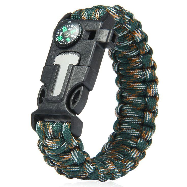 5 in 1 Outdoor Survival Gear Escape Paracord Bracelet Flint / Whistle / Compass…