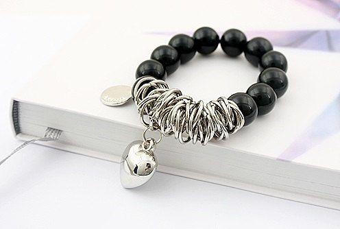 Black silver bracelet heart bracelet charm by MayaDesignFinland