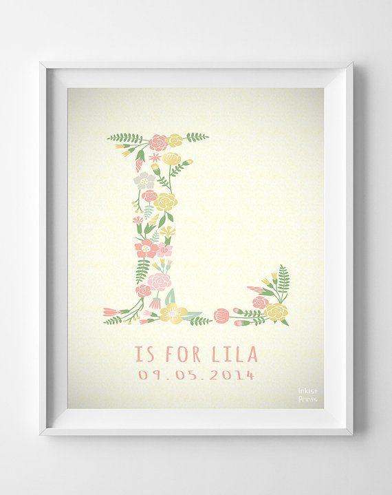 Custom Name Lila print Letter L Monogram Nursery by InkistPrints, $11.95 I love this name .