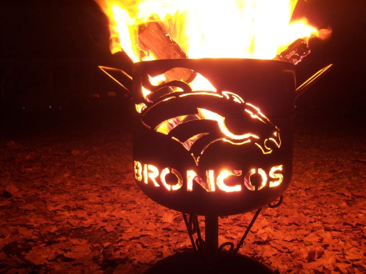 Denver Broncos compact fire pit of salvaged by YosemiteHomeFires, $110.00