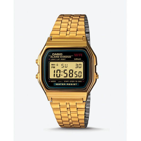 Express Vintage Casio Gold Digital Watch (87 CAD) ❤ liked on Polyvore featuring men's fashion, men's jewelry, men's watches, gold, mens vintage gold watches, mens digital watch, mens watches, mens gold watches and mens vintage watches