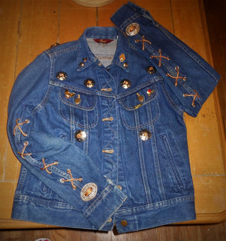Vintage Ladie's Lee Ms. Red Tag Denim Jacket. Size 5/6, Harley Davison Eagle Patch on Back  Custom Made, 100% Cotton Made in U.S.A. by calhounantiques on Etsy