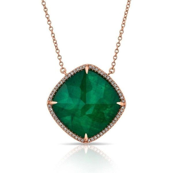 Anne Sisteron 14KT Rose Gold Diamond Emerald Triplet Laguna Necklace ($1,570) ❤ liked on Polyvore featuring jewelry, necklaces, diamond jewelry, emerald diamond necklace, chain jewelry, pink gold necklace and diamond jewellery
