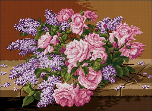 Lilacs and Roses (вышивка крестом)