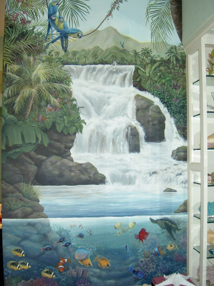 Tropical Waterfall Mural Idea In Wall Painting Wall Murals Painted Mural Painting