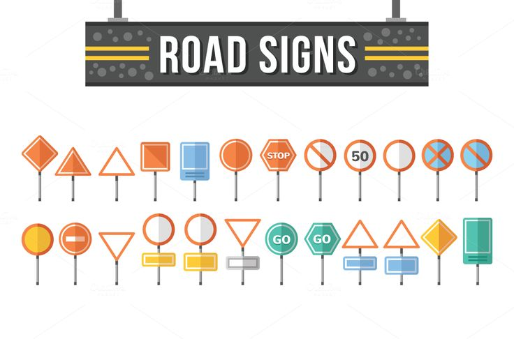 Flat Road Signs Set by Magurok on @creativemarket
