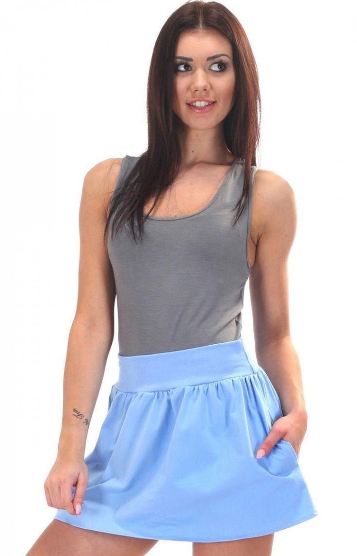 SIMMI S051 spódnica błękitna Dziewczęca mini spódniczka