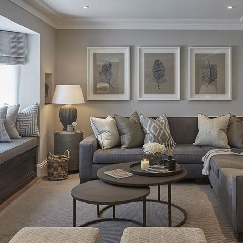 Snag this Look Earthy Living Room Decor. A modern yet cozy mix or earthy grays with wood, metal, and green and leafy accents. Decorate your living room on a budget.