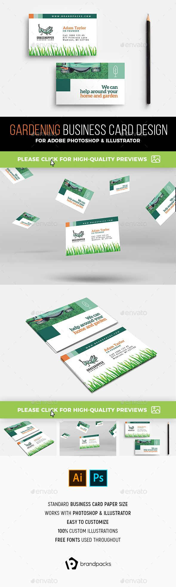 Gardening Business Card Template Free Business Card Templates Business Card Template Design Business Card Template