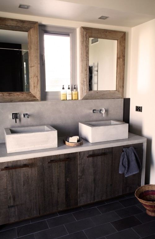 Rustic Bathroom - for upstairs, w/o vessel sinks, but refaced cabinets and matching mirror frames