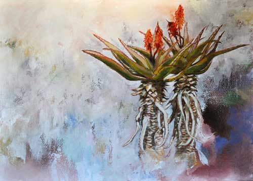 Aloe Duo   (oil on canvas, 700X500mmX25mm)  by Lisl Barry   www.lislbarry.co.za  Little Karoo plants