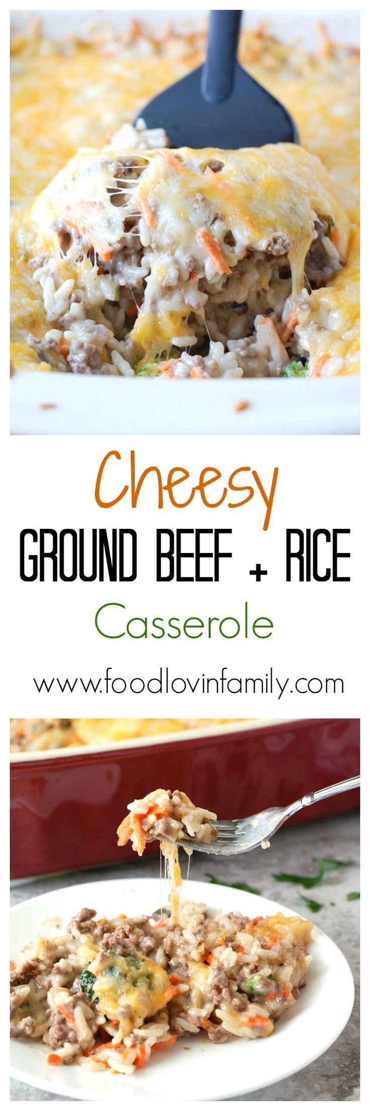 Filled with cheese, ground beef, carrots, broccoli and rice, this cheesy ground beef and rice casserole is a simple, delicious meal great for the whole family. @UncleBens #BensBeginners #UncleBensProm