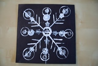 Found Object Snowflake Printmaking Project from Pink and Green Mama blog.
