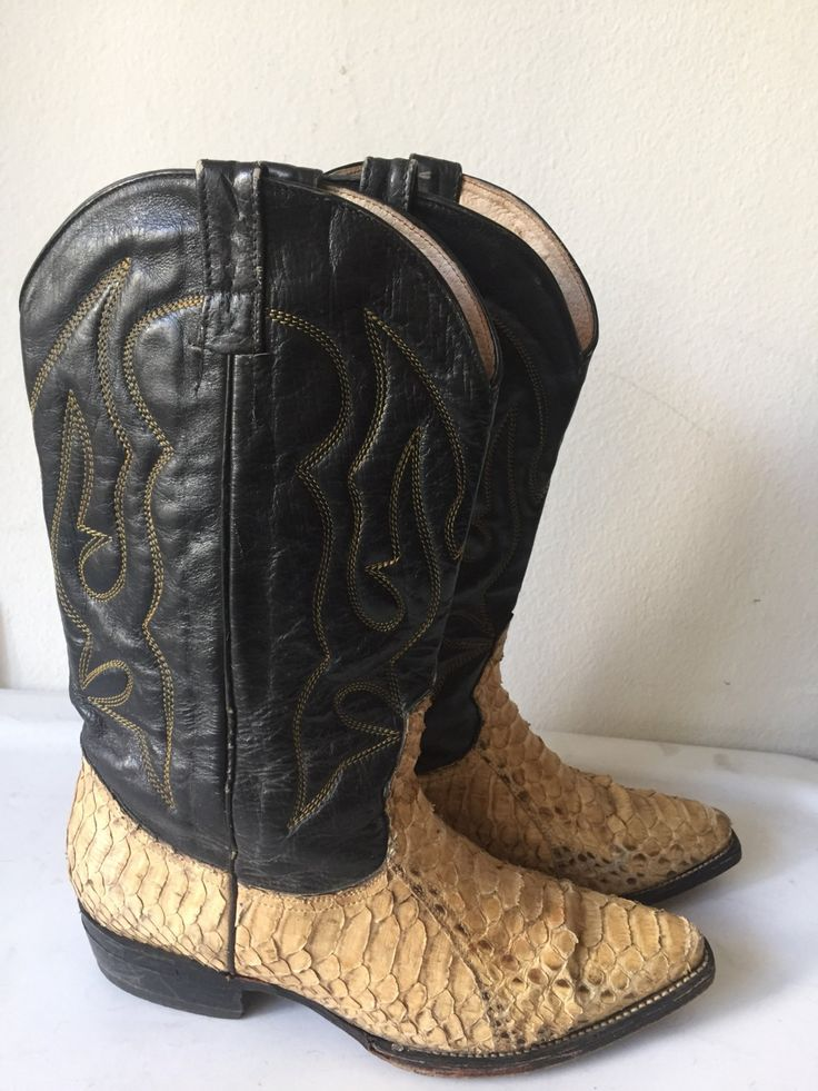 Black and beige men's cowboy boots, from real snake leather, embroidered, vintage style, western, old boots, men's size 9 1/2. by VladVintage19 on Etsy https://www.etsy.com/ca/listing/497493633/black-and-beige-mens-cowboy-boots-from
