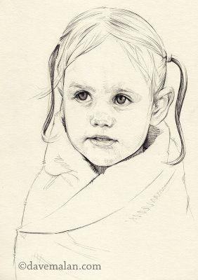 David Malan: title unknown [drawing of small girl in towel, post-swim], graphite on paper.